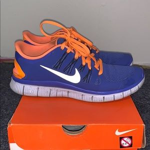 Blue and orange Nike Free